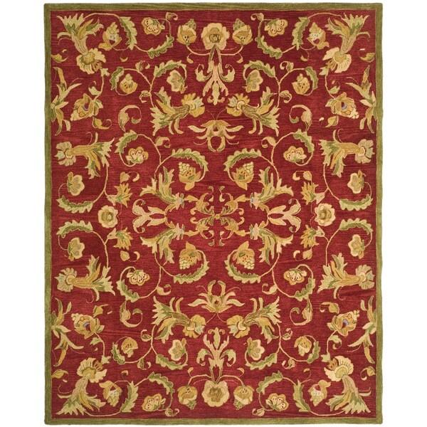 Safavieh Handmade Flora Burgundy Wool Rug (9'x12')