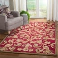Handmade Flora Burgundy Wool Rug (9&#39;x12&#39;)