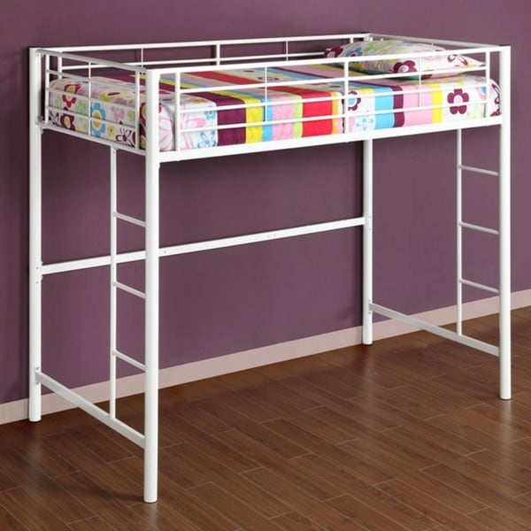 Metal Loft Bed : White Metal Twin Loft Bunk Bed - 12579894 - Overstock.com Shopping ...