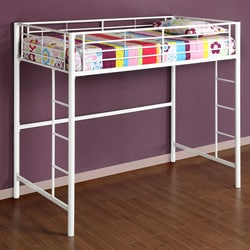 White Metal Twin Loft Bunk Bed