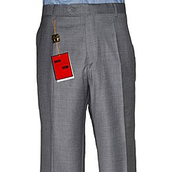 Mantoni Men's Medium Grey Flat-front Wool Pants