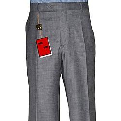 Mantoni - Pantalones de hombre, de lana sin pliegues, Medium Grey