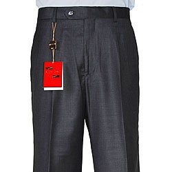 Mantoni Men's Dark Charcoal Gray Wool Single-pleat Pants
