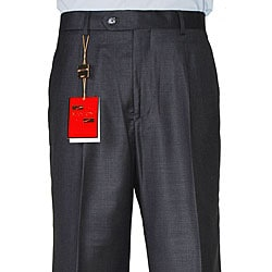 Men's Dark Charcoal Gray Wool Single-pleat Pants