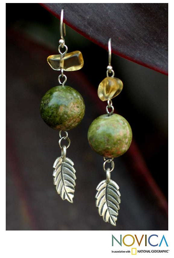 Silver 'Cool Forest' Jasper and Citrine Earrings (Thailand)