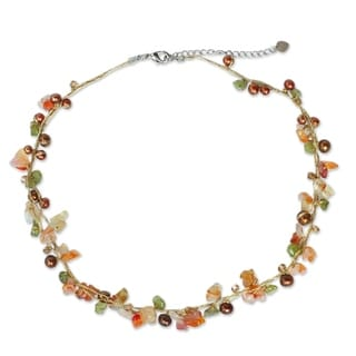Pearl and Carnelian 'Tropical Elite' Strand Necklace (Thailand) (3-5 mm)