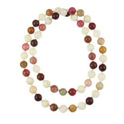 DaVonna Sterling Silver Carnelian and Jade Beaded Necklace