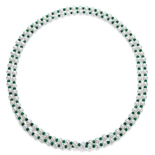 DaVonna White FW Pearl and Green Emeralds 50-inch Endless Necklace (7-7.5 mm)