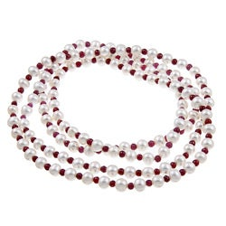 DaVonna White FW Pearl and Red Ruby 50-inch Endless Necklace (7-7.5 mm)