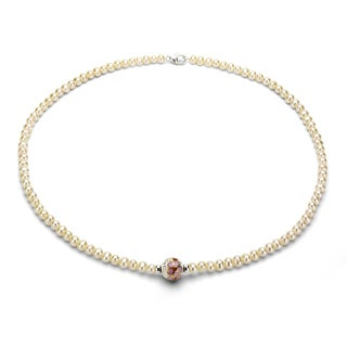 DaVonna Silver White FW Pearl and Cloisonne Necklace (4-5 mm)