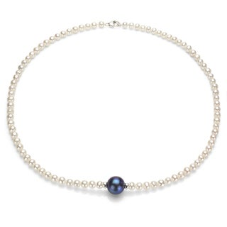 DaVonna Sterling Silver White and Black FW Pearl Necklace (4-12 mm)