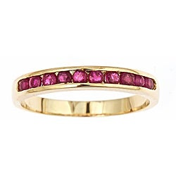 D'Yach 14k Yellow Gold Thai Ruby Channel Ring (Size 7)