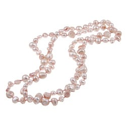 DaVonna Lilac Pink Flat FW Pearl 36-inch Endless Necklace (5-10 mm)