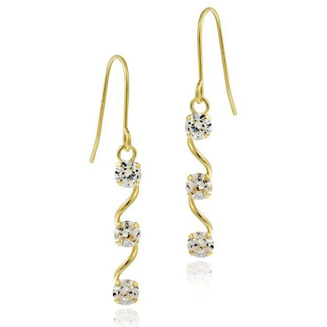 Icz Stonez 10k Gold Cubic Zirconia Dangling Swirl Earrings