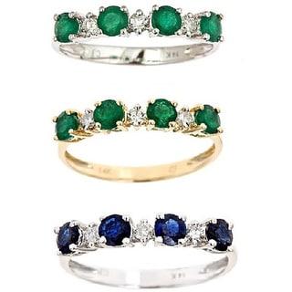 D'Yach 14k White Gold Emerald and 1/8ct TDW Diamond Ring (I-J, I) (Size 7)