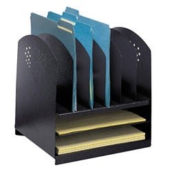 Safco Combination Black Steel Desk Rack