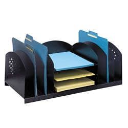 Safco Combination Steel Desk Organizer Rack with Black Finish