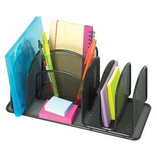 Safco Onyx Deluxe Black Steel Mesh Organizers (Case of 6)