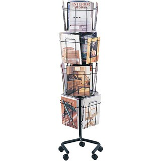 Safco Rotary Literature Rack, Charcoal