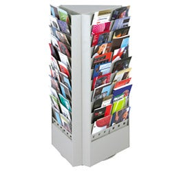 Safco Grey Steel Rotary Brochure Rack with Removable Divider