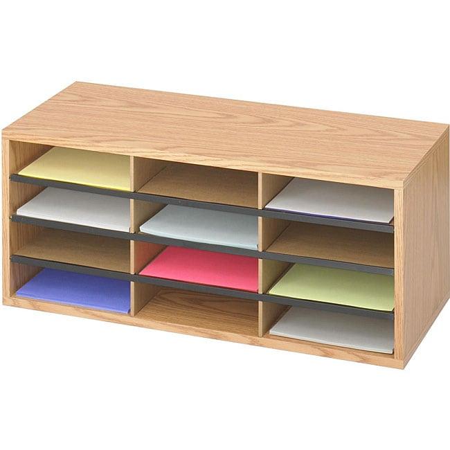safco 12 compartment corrugated wood literature organizer