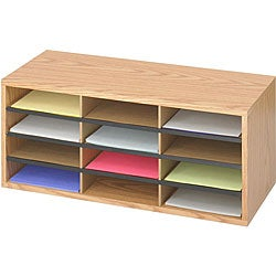 Safco 12-compartment Corrugated Wood Literature Organizer