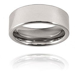 Men's Tungsten Carbide Flat Polished Band (8 mm)