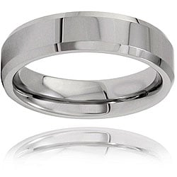Men's Tungsten Polished Beveled Edge Band (6 mm)