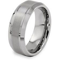 Men's Tungsten Brushed and Polished Beveled Edge Band (8 mm)