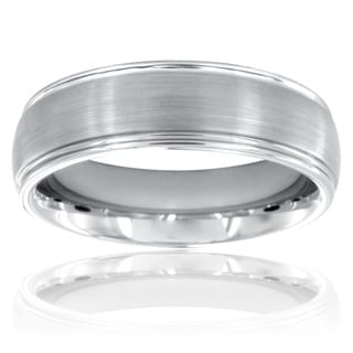 Men's Tungsten Carbide Grooved Brushed and Polished Ring (6.5 mm)