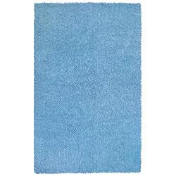 "Handwoven Blue Chenille Shag Accent Rug (2'6"" x 4'2"")"