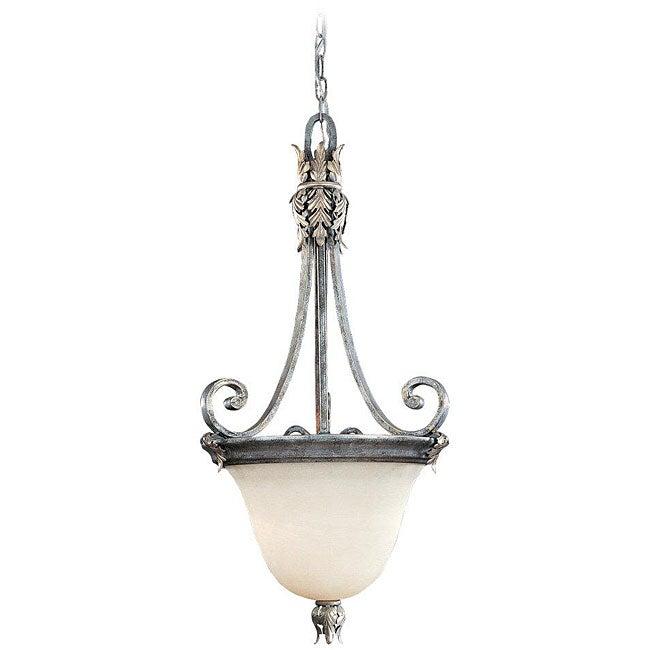 Acanthus Alabaster Glass 2-light Silver Patina Pendant
