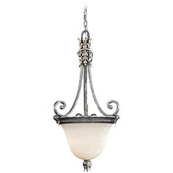 Acanthus Alabaster Glass 2-light Silver Patina Pendant