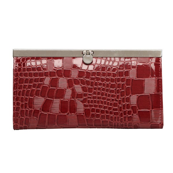 Je Veux Patent Croc-print Clutch Wallet