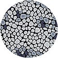 Handmade Soho Pebbles Black/ Grey New Zealand Wool Rug (6' Round)