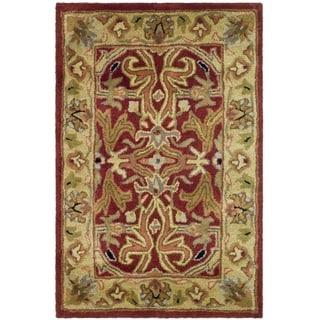 Handmade Heritage Treasures Red/ Gold Wool Rug (2' x 3')