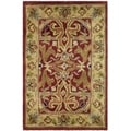 Handmade Heritage Treasures Red/ Gold Wool Rug (2' x 3')