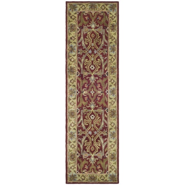 Safavieh Handmade Heritage Treasures Red/ Gold Wool Runner (2'3 x 14')