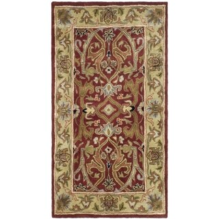 Handmade Heritage Treasures Red/ Gold Wool Rug (3' x 5')
