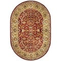 Handmade Heritage Treasures Red/ Gold Wool Rug (4'6 x 6'6 Oval)