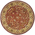 Handmade Heritage Treasures Oriental Red/Gold Wool Rug (6' Round)