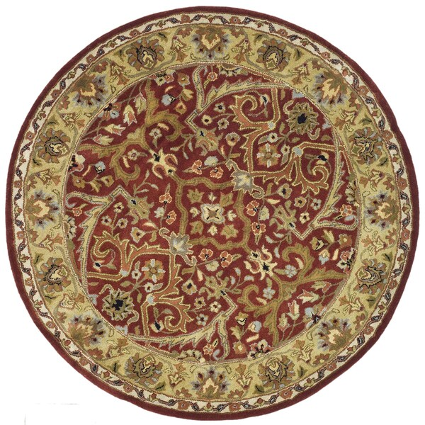 Safavieh Handmade Heritage Treasures Oriental Red/Gold Wool Rug (6' Round)
