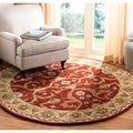 Handmade Heritage Treasures Red/ Gold Wool Rug (8' Round)