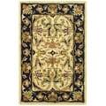 Safavieh Handmade Heritage Treasures Ivory/ Black Wool Rug (2' x 3')