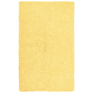 Hand-woven Yellow Chenille Shag Rug (2'6 x 4'2)