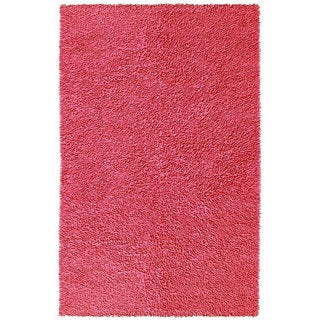 Hand-woven Pink Chenille Shag Rug (2'6 x 4'2)