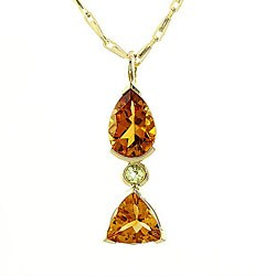 Beverly Hills Charm 14k Yellow Gold Citrine and Peridot Necklace