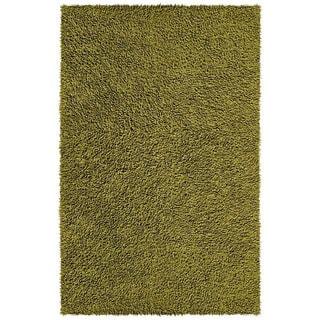 Hand-woven Moss Green Chenille Rug (4' x 6')