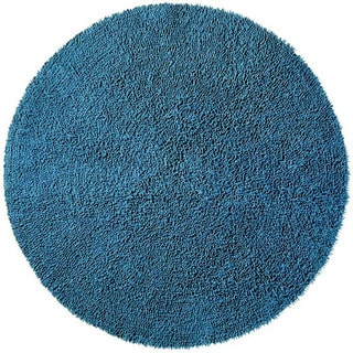 Hand-woven Blue Chenille Shag Rug (5' Round)