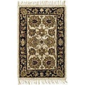 Handmade Heirloom Ivory/ Black Wool Rug (2' x 3')